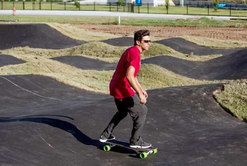 Skateboard Supercross co-founder and Velosolutions USA representative Alon Karpman takes an early run. Oklahoma Pumptrack