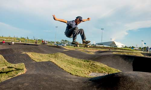 Velosolutions crew member Ben Horan with a stylish ollie. Oklahoma Pumptrack