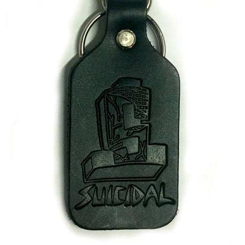 Suicidal Leather Clip-on Keychain