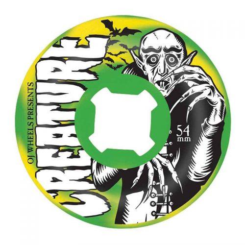 OJ Wheels X Creature Thee Vampire Swirls Bloodsuckers 54mm 97a Green/Yellow Skateboard Wheels Canada Online Sales Pickup Vancouver