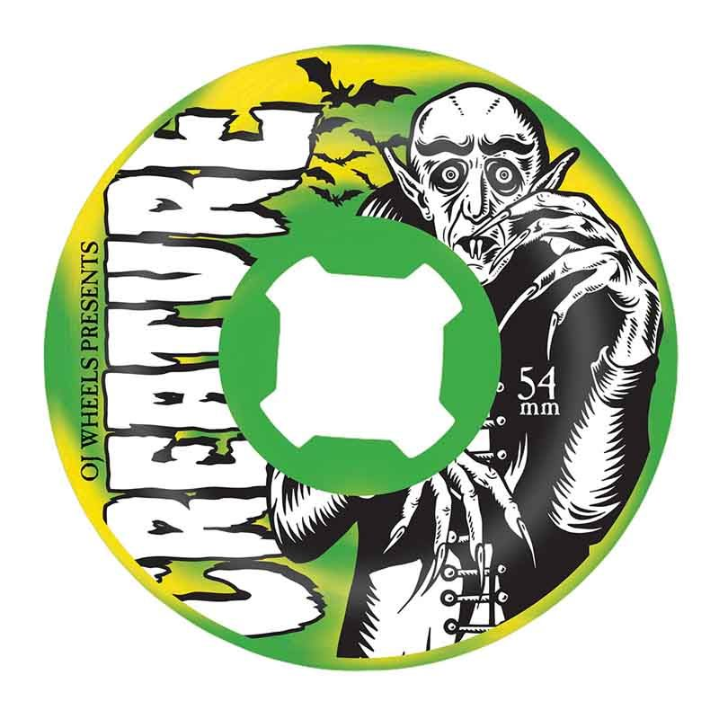 OJ Wheels X Creature Thee Vampire Swirls Bloodsuckers 54mm 97a Green/Yellow Skateboard Wheels Canada Online Sales Pickup Vancouver