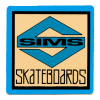 """SIMS NEW-OLD-STOCK SIMS SKATEBOARDS """"S"""" STICKER 2″ X 2″ BLUE"""