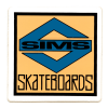 """SIMS NEW-OLD-STOCK SIMS SKATEBOARDS """"S"""" STICKER 2″ X 2″ CLEAR"""