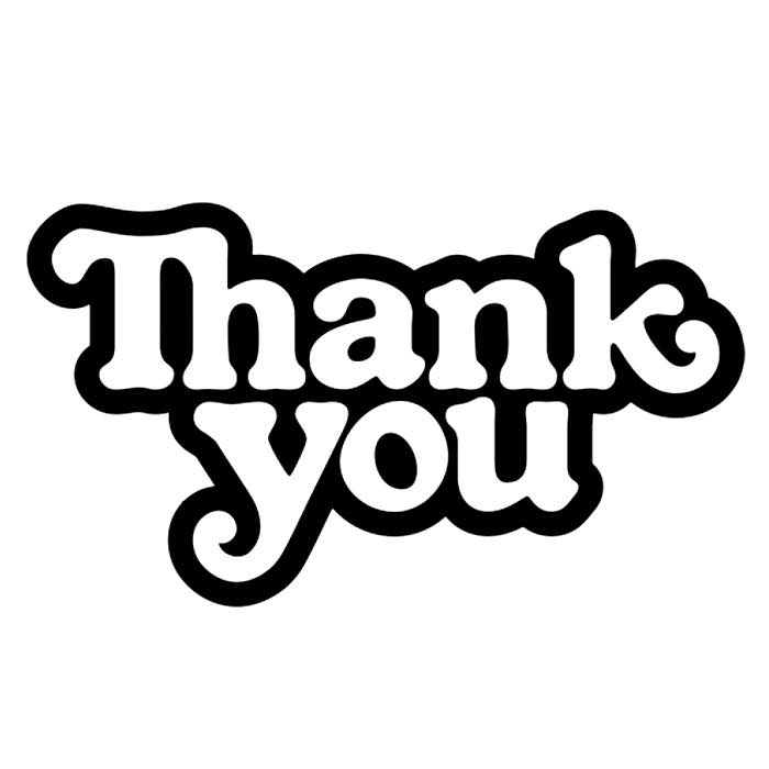 "Thank You Skateboards Logo Sticker 2"" X 4"" 