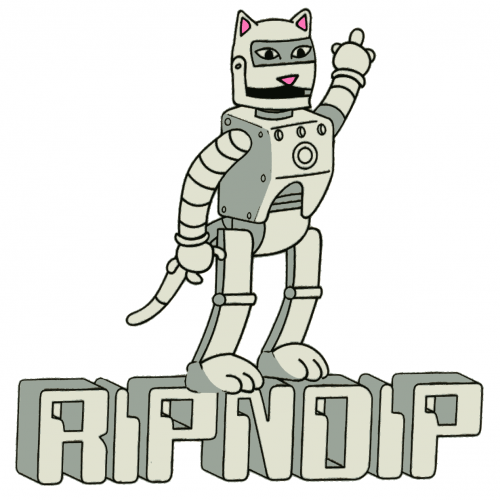 RIP N DIP ROBOT KITTY STICKER