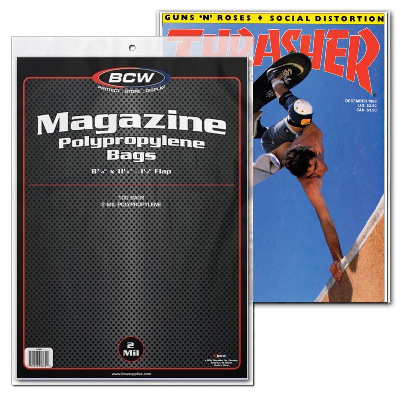 The BCW Magazine Bags are an acid free, archival quality product made of crystal clear polypropylene. Use this item to protect and store your collectible Magazines Available in two sizes so you can now fit your thickest magazine into the appropriate bag.