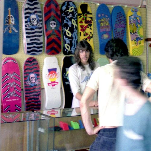 CalStreets Hosoi Decks on the wall. Circa 1980s Canadian Skateshop