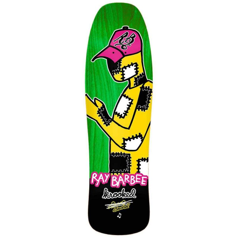 Krooked Barbee Redux Street Shape Skateboard Deck 9.5 x 31.75 green stain Canada Pickup Vancouver