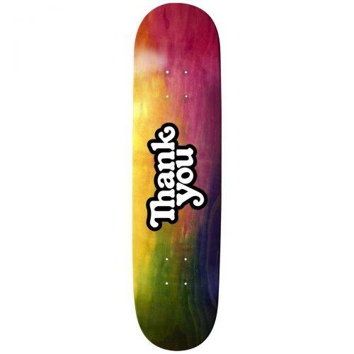 "Thank You Tie Dye Woodgrain Logo Deck 8"" x 31.875"" Multicolor Skateboard Canada Pickup Vancouver"