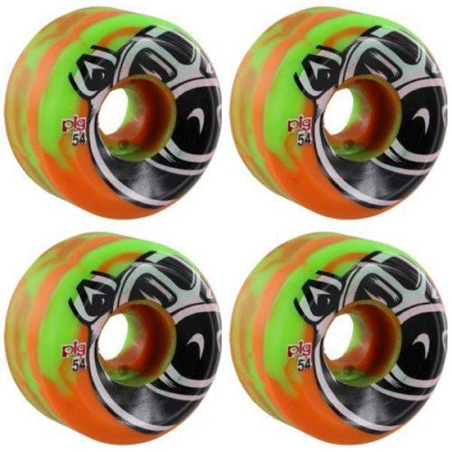 Pig Head C Line Conical 54mm 101a Green Orange Swirl Skateboard Wheels Canada Pickup Vancouver