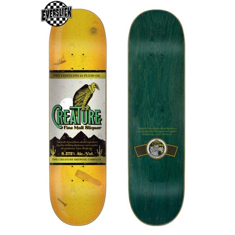 Creature Malt Sliquor Everslick Deck 8.375 x 32 Yellow Skateboard Canada Pickup Vancouver