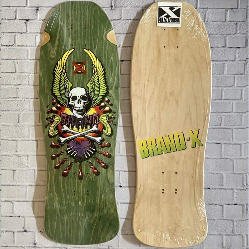 Brand-X X-Con Fish Reissue Deck 10 x 30.5 Green Stain Skateboard Canada Pickup Vancouver