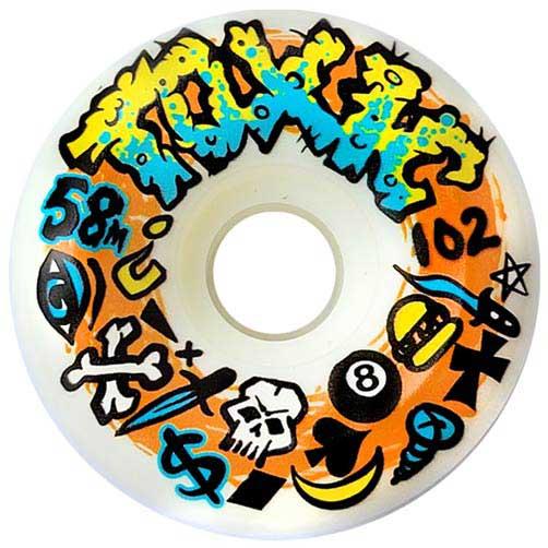 Toxic Logo Performance Wheels 58mm 102a White Skateboard Canada Pickup Vancouver