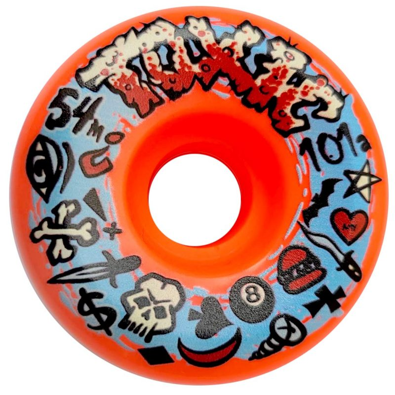 Toxic Logo Performance Wheels 54mm 101a Fluorescent Orange Skateboard Canada Pickup Vancouver
