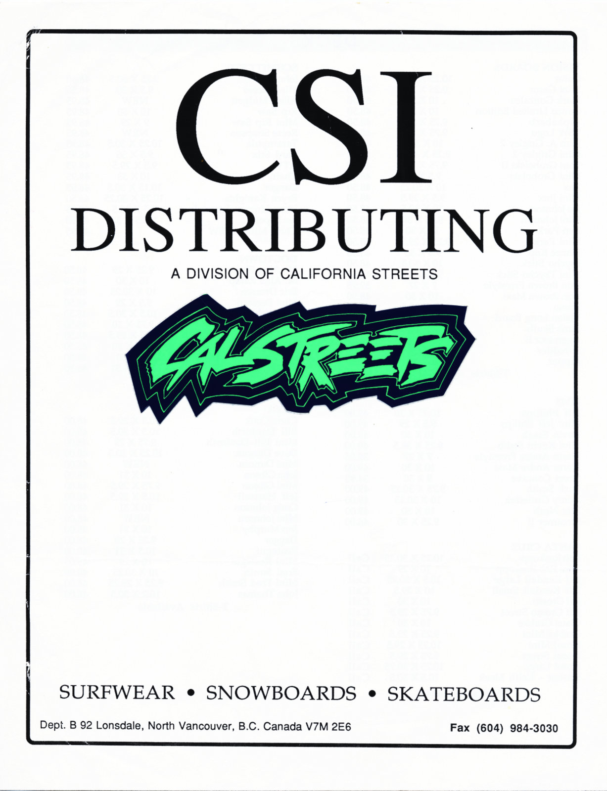CSI Cal Streets Industries Catalog