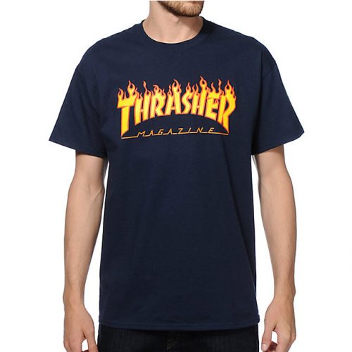 Thrasher Flame T Shirt Navy